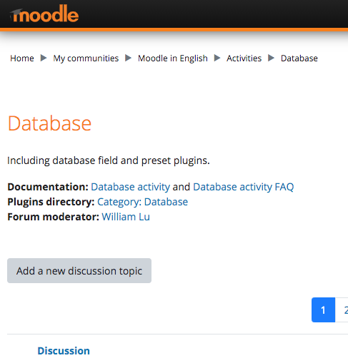 Moodle Database Activity Forum